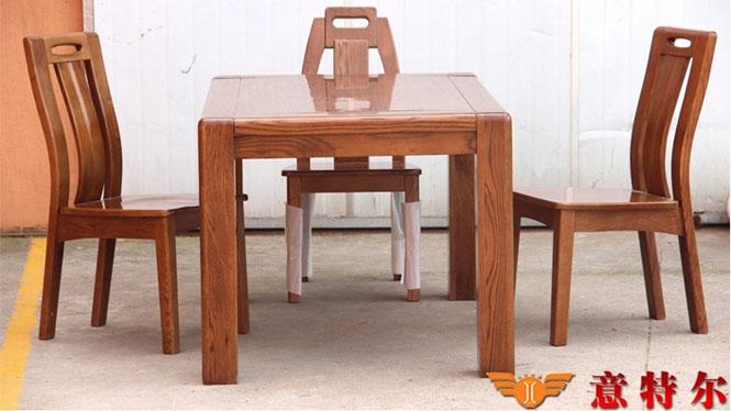 美国红橡木现代中式全实木餐桌长方形1.5米餐桌饭桌特价 CZ18