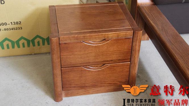 全实木美国红橡家具床头柜简约现代时尚宜家木柜储物柜特价 931