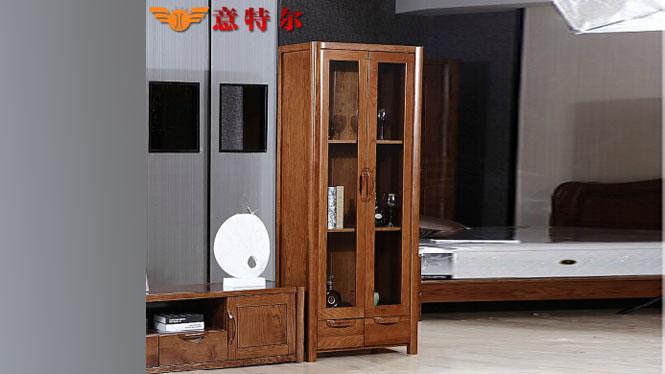 美国红橡全实木酒柜现代简约双门酒水柜陈列柜装饰柜特价 JG