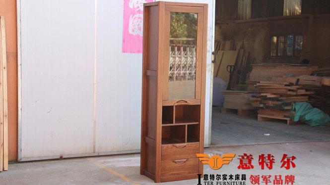 美国红橡全实木酒柜现代简约单门酒水柜陈列柜装饰柜特价 MDTG