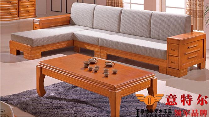 新品橡木沙发 现代中式客厅实木贵妃转角实木沙发组合特价 819#