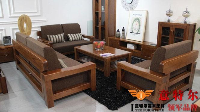 美国红橡木 现代中式客厅家具 简约橡木全实木沙发组合特价 SF005