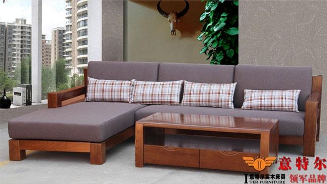 美国红橡木 现代中式客厅全实木贵妃转角实木沙发组合特价 SF007
