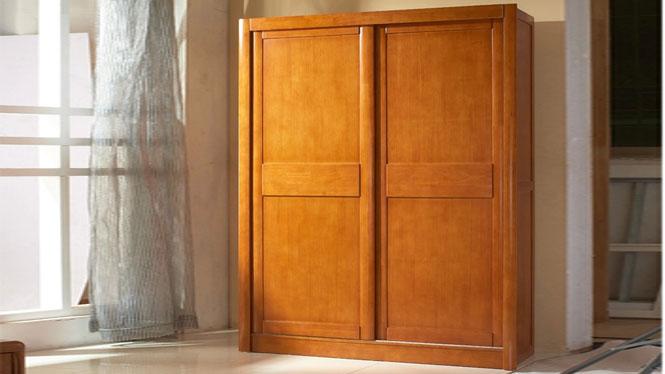 泰国进口橡木现代中式 实木推拉门衣柜橱 两门衣柜组合特价 816#