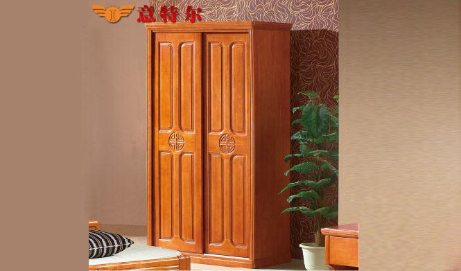进口橡木现代中式 实木推拉门衣柜橱 两门移门衣柜组合特价 818#