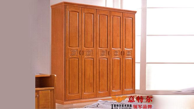 泰国进口橡木现代中式 实木平开门衣柜橱 五门衣柜组合特价 8018#