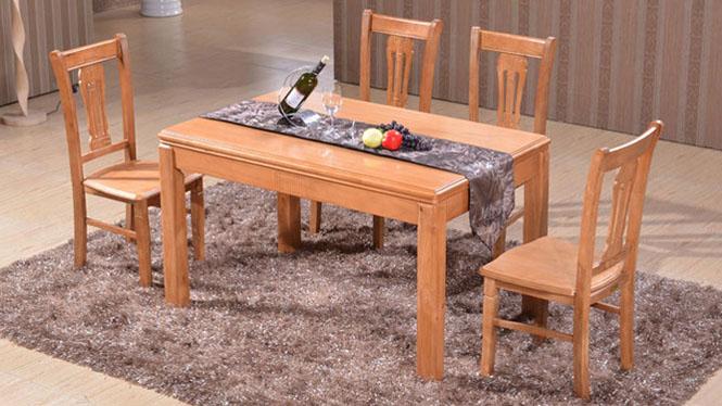 家用实木餐桌椅组合 桌子 餐厅桌椅实木家具可定制125# 135*85*76