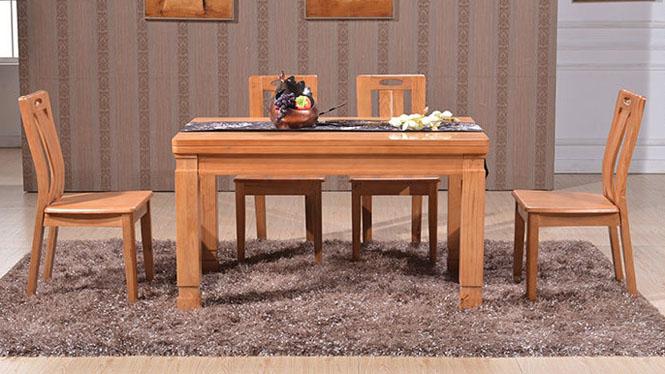 家用实木餐桌椅组合 桌子 餐厅桌椅实木家具可定制129# 135*85*76