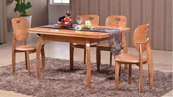 家用实木餐桌椅组合 桌子 餐厅桌椅实木家具可定制205# 135*85*76