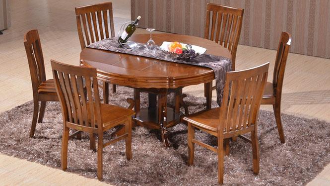 家用实木餐桌椅组合 桌子 餐厅桌椅实木家具可定制686# 135*85*76