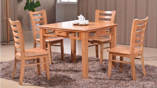 家用实木餐桌椅组合 桌子 餐厅桌椅实木家具可定制816# 95*95*76