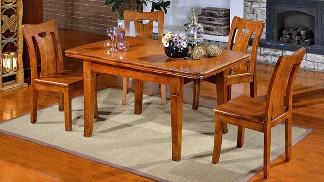 家用实木餐桌椅组合 桌子 餐厅桌椅实木家具可定制1006# 135*85*76