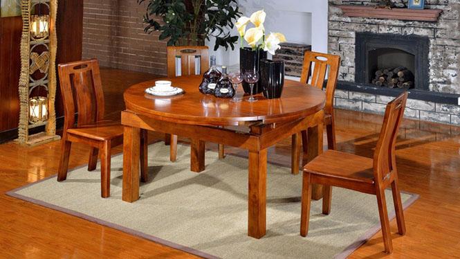 家用实木餐桌椅组合 桌子 餐厅桌椅实木家具可定制1009# 135*85*76