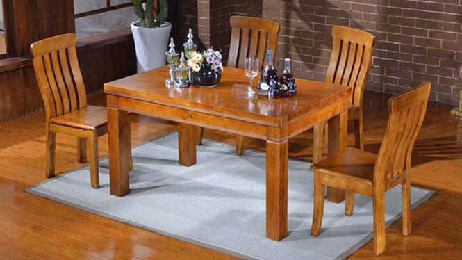 家用实木餐桌椅组合 桌子 餐厅桌椅实木家具可定制1011# 135*85*76