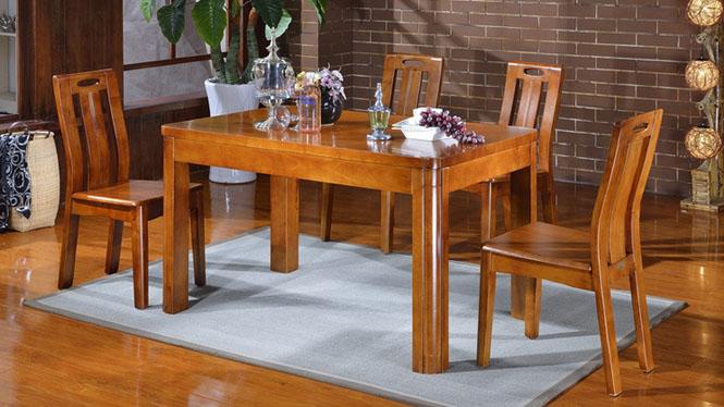 家用实木餐桌椅组合 桌子 餐厅桌椅实木家具可定制1014# 135*85*76