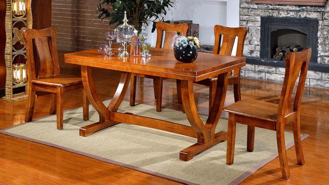 家用实木餐桌椅组合 桌子 餐厅桌椅实木家具可定制1015# 135*85*76