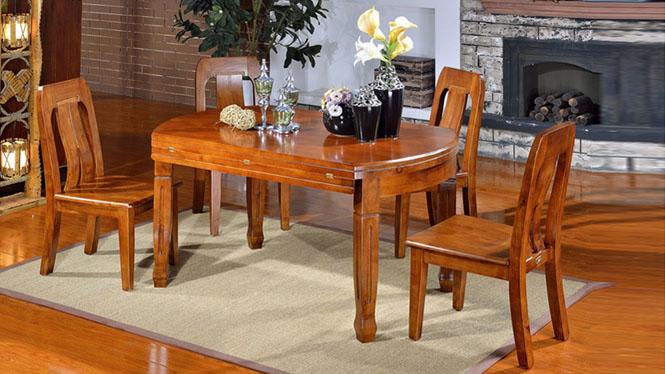 家用实木餐桌椅组合 桌子 餐厅桌椅实木家具可定制1503# 150*90*76