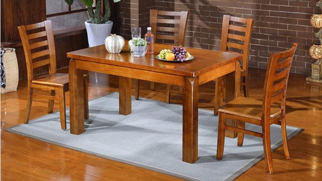 家用实木餐桌椅组合 桌子 餐厅桌椅实木家具可定制1012# 135*85*76