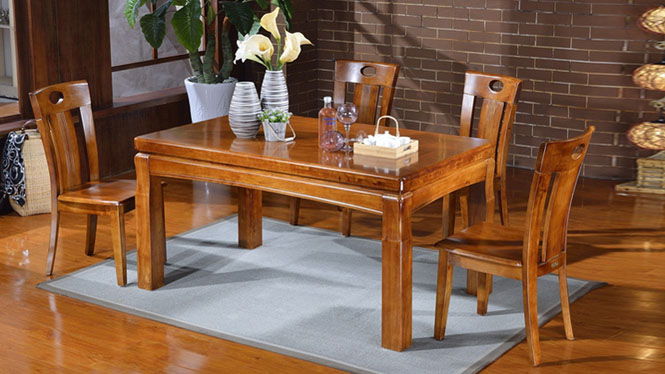 家用实木餐桌椅组合 桌子 餐厅桌椅实木家具可定制1518# 150*90*76