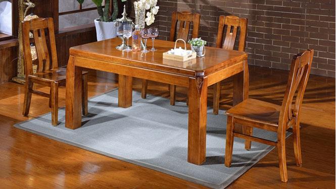 家用实木餐桌椅组合 桌子 餐厅桌椅实木家具可定制1519# 150*90*76
