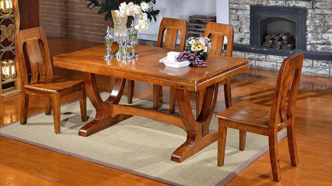 家用实木餐桌椅组合 桌子 餐厅桌椅实木家具可定制1520# 150*90*76