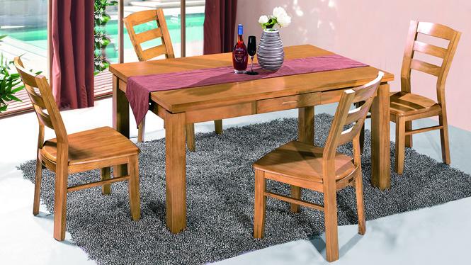 家用实木餐桌椅组合 桌子 餐厅桌椅实木家具可定制142# 140*90*76