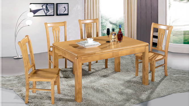 家用实木餐桌椅组合 桌子 餐厅桌椅实木家具可定制165# 150*90*76