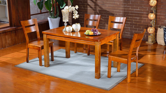 家用实木餐桌椅组合 桌子 餐厅桌椅实木家具可定制1001# 135*85*76