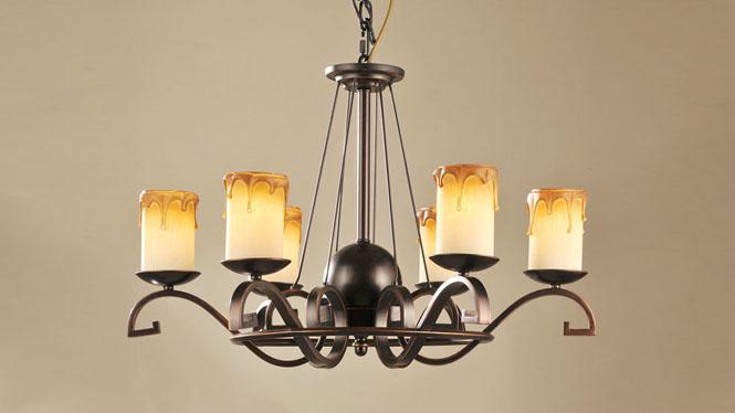 欧式铁艺客厅吊灯 室内6头灯具吊灯 经典美式乡村吊灯 CH028-6
