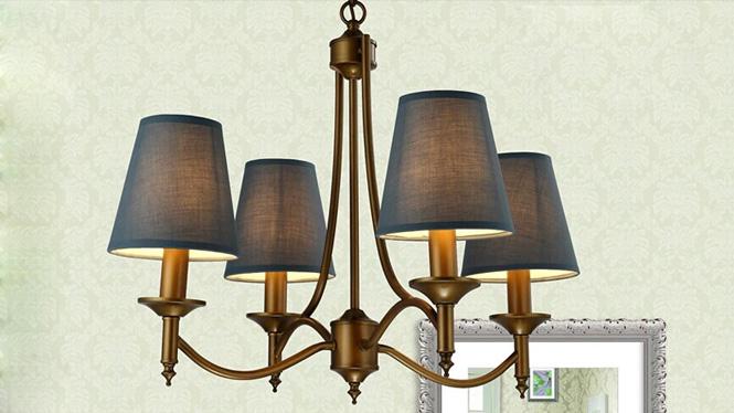 欧式铁艺吊灯 美式铁艺田园简约客厅卧室4头布罩吊灯 8058-4H