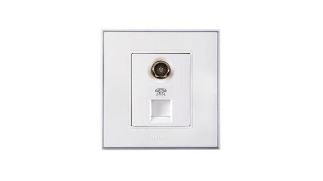 西蒙电气(SIMON)开关插座56系列有线电视插座加电话插座V55301 雅白
