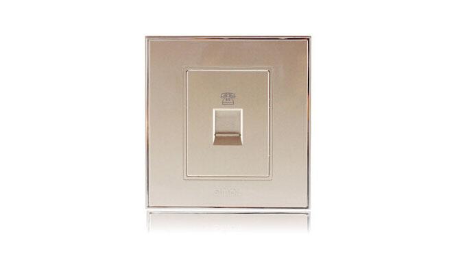 西蒙(Simon)开关插座86型面板56系列电话插座V55214-56香槟金