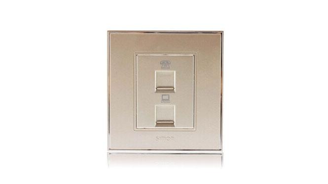 西蒙(Simon)开关插座86型面板56系列电话加电脑插座V55229-56香槟金