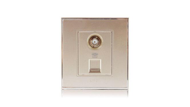 西蒙(Simon)开关插座86型面板56系列电话加电视插座V55301-56香槟金
