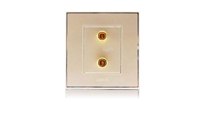西蒙(Simon)开关插座86型面板56系列一位音箱插座V55401-56香槟金