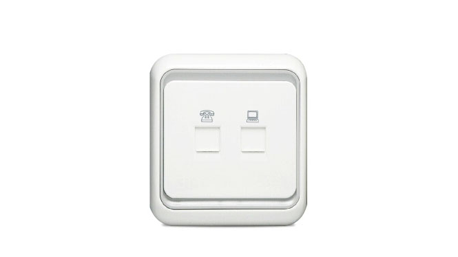 西蒙电气开关插座60系列电脑电话插座面板60欧式电话加电脑