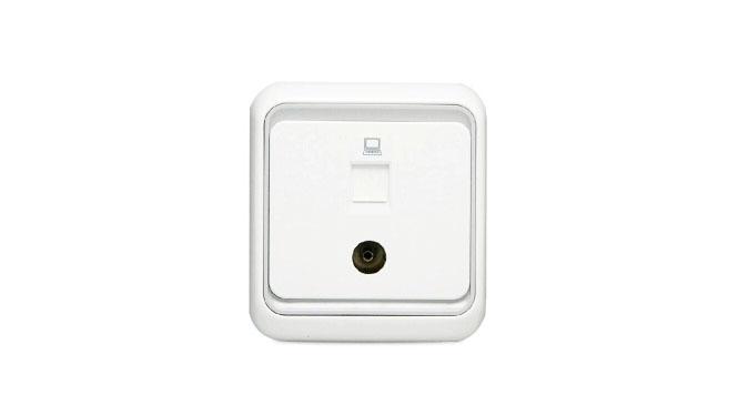 西蒙电气开关插座面板60系列电脑+电视 电视+网线插座面板