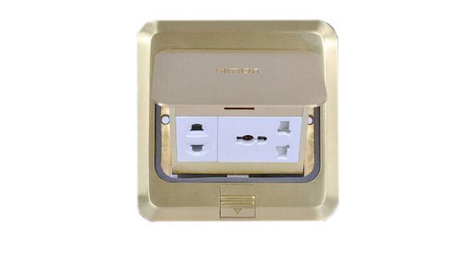 西蒙地插座多功能五孔地插金属全铜色正品/弹起式地板插座