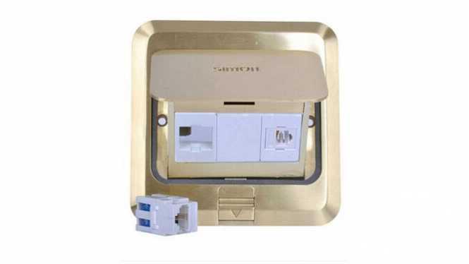 西蒙地插全铜防水弹起式 电脑加电话带阻尼TZ120F19防儿童夹手
