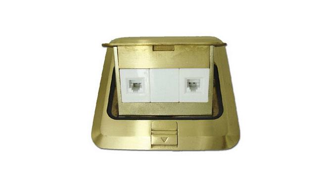 西蒙地插座二位电话加电脑地插全铜防水金属地面插座正品TD120F27