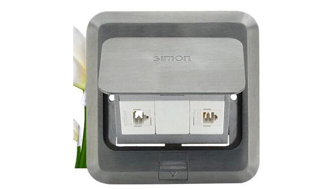 西蒙地插银色信息地插座防水系电话电脑地插头TD120F19H正品