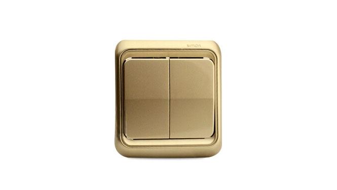 西蒙开关插座面板 西蒙60系列香槟色双开单控 二开单控开关插座