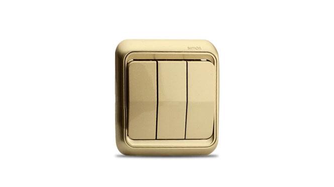 西蒙开关插座面板西蒙60系列香槟色三开单控开关插座60371-50XB