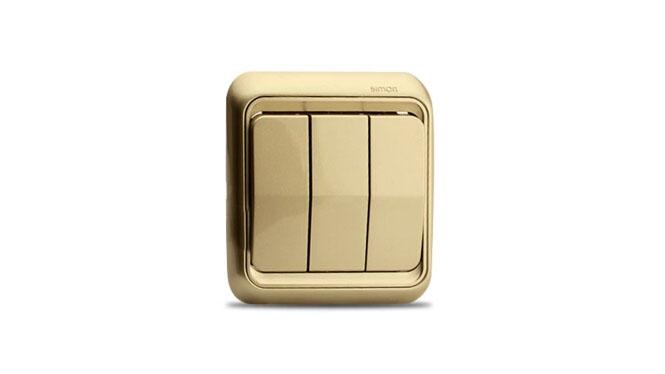 西蒙开关插座面板西蒙60系列香槟色三开双控开关插座60372-50XB
