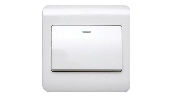 西蒙开关插座面板C3系列雅白色一开 单开单控带荧光开关C31011BY