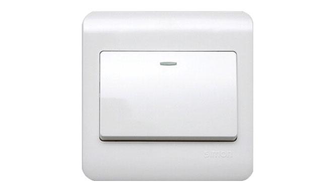 西蒙开关插座面板C3系列雅白色一开 单开双控带荧光开关C31012BY