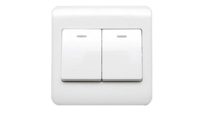 西蒙开关插座面板C3系列雅白色二开 双开单控带荧光开关C31021BY