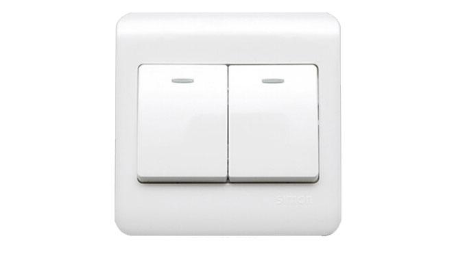 西蒙开关插座面板西蒙C3系列雅白色二开 双开双控带荧光C31022BY