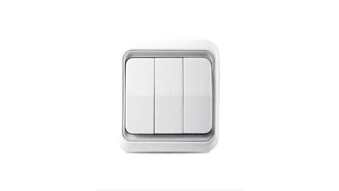 西蒙开关插座面板C3系列雅白色三开双控带荧光开关C31032BY