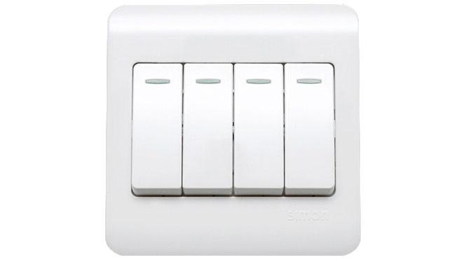 西蒙开关插座面板C3系列雅白色四开单控带荧光开关C31011BY